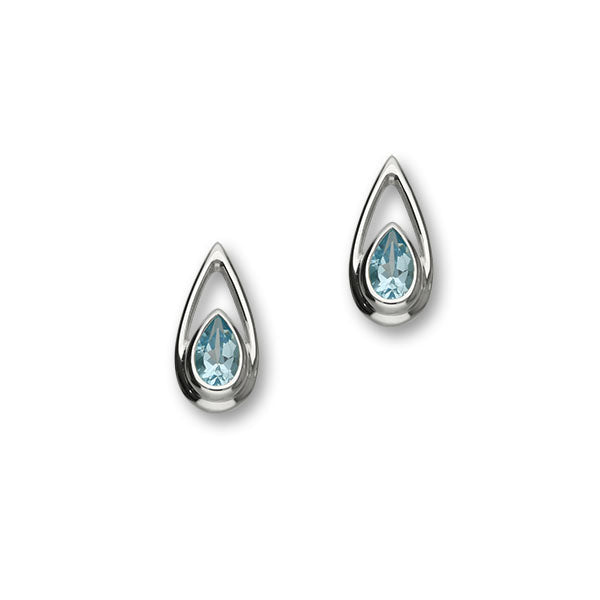 November Birthstone Silver Earrings CE382 Blue Topaz