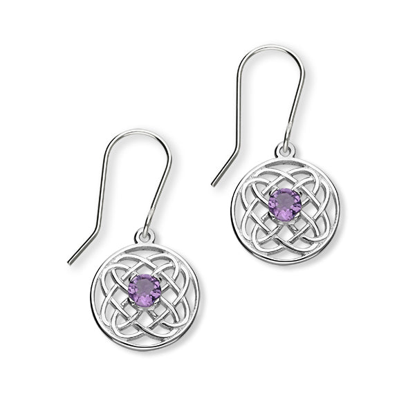Celtic Silver Earrings CE393 Amethyst