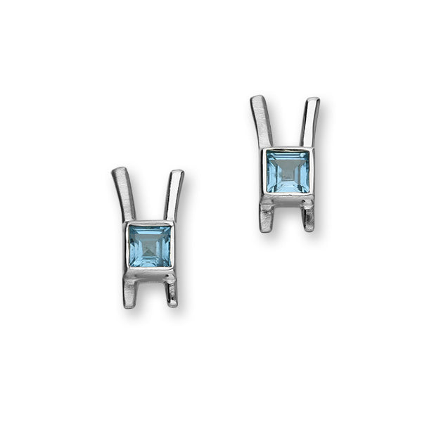 November Birthstone Silver Earrings CE410 Blue Topaz