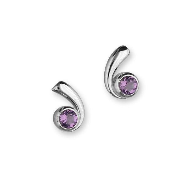 Retreat Sterling Silver & Amethyst Curl Stud Earrings, CE414