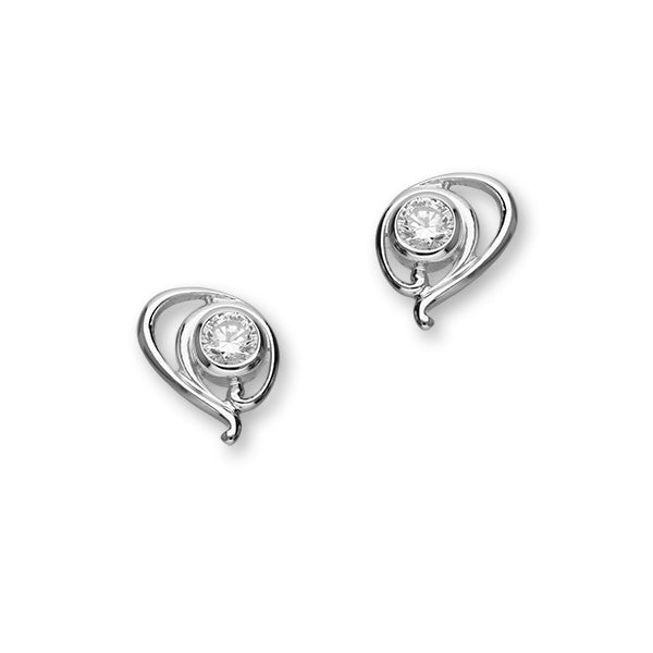 Retreat Sterling Silver & Cubic Zirconia Stud Earrings, CE418