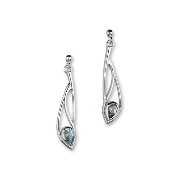 Retreat Sterling Silver & Aquamarine Long Teardrop Drop Earrings, CE419