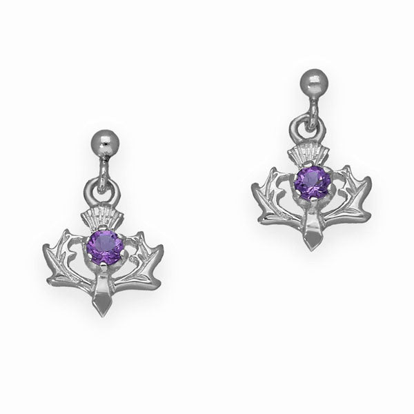 Thistle Silver Earrings CE9 Amethyst