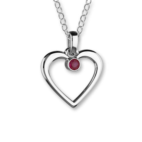 July Birthstone Silver Pendant CP305 Ruby