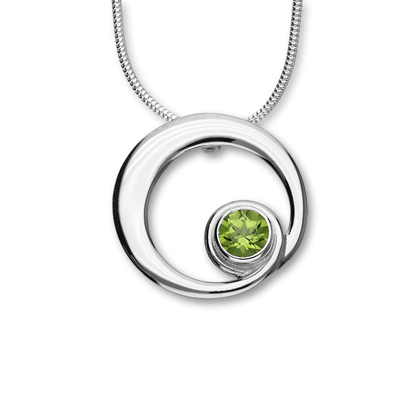 August Birthstone Silver Pendant CP306 Peridot