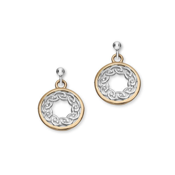Cuillin Sterling Silver & 9ct Rose Gold Celtic Knot Round Drop Earrings, E1060