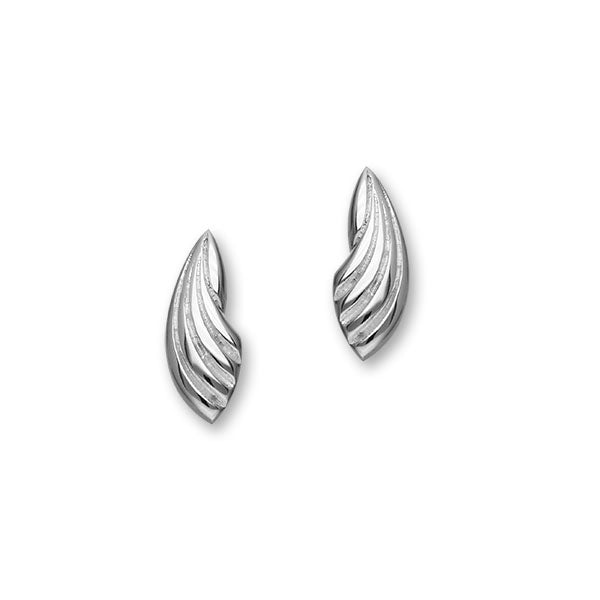 Trendy Twirls Sterling Silver Shell Stud Earrings, E1095