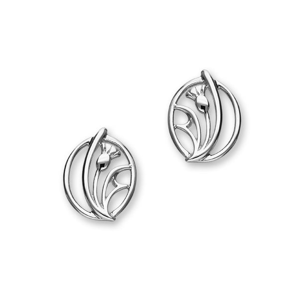 Scottish Thistle Sterling Silver Abstract Stud Earrings, E1520