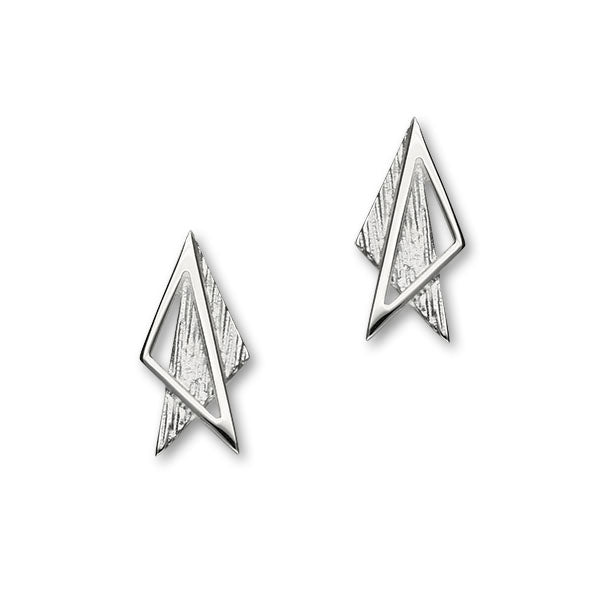 Simply Stylish Sterling Silver Triangle Stud Earrings, E1560