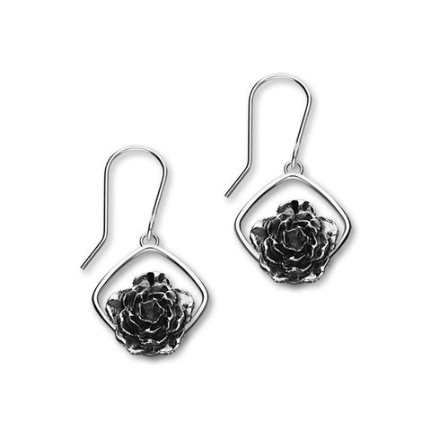January Birth Flower Silver Earrings E1859
