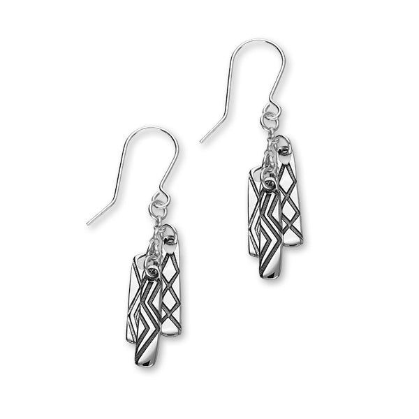 Live, Laugh, Love Sterling Silver Tri Drop Earrings, E1901