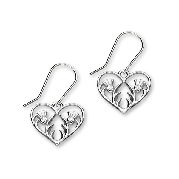 Scottish Thistle Sterling Silver Heart Drop Earrings, E1903