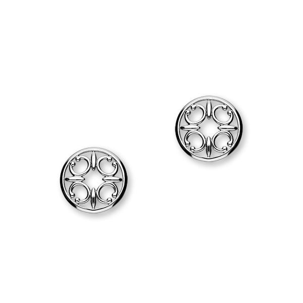St Magnus Sterling Silver Cut-Out C Round Stud Earrings, E1912
