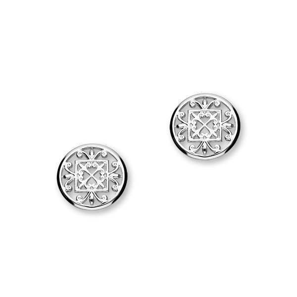St Magnus Sterling Silver Cut-Out Heart Round Stud Earrings, E1914