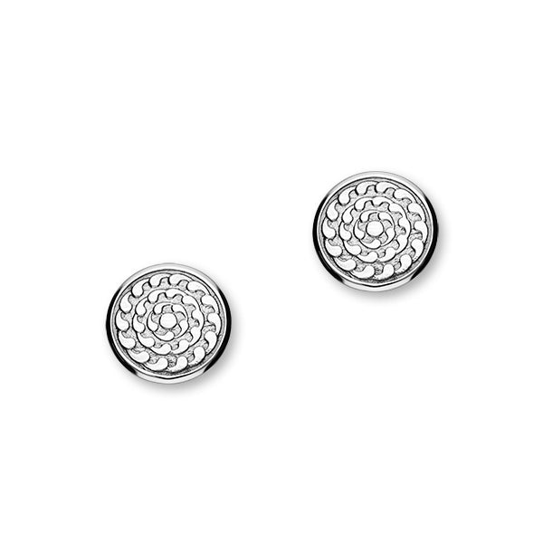 St Magnus Sterling Silver Round Stud Earrings, E1916