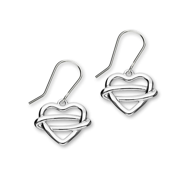 Celtic Sterling Silver Heart Drop Earrings, E1923