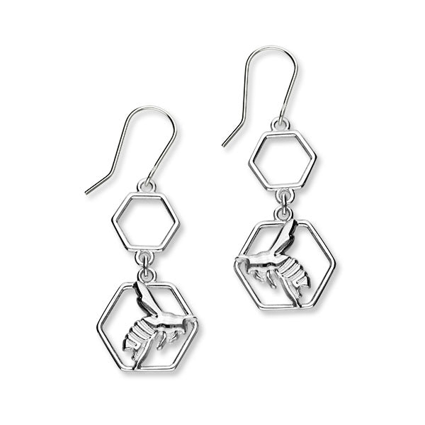 Honey Bee Sterling Silver Double Drop Earrings, E1928
