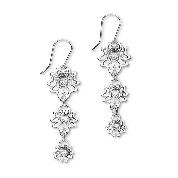 Scottish Primrose Sterling Silver Tri Drop Earrings, E1947