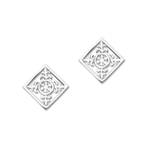 Orkney St Magnus Sterling Silver Square 308 Stud Earrings, E308