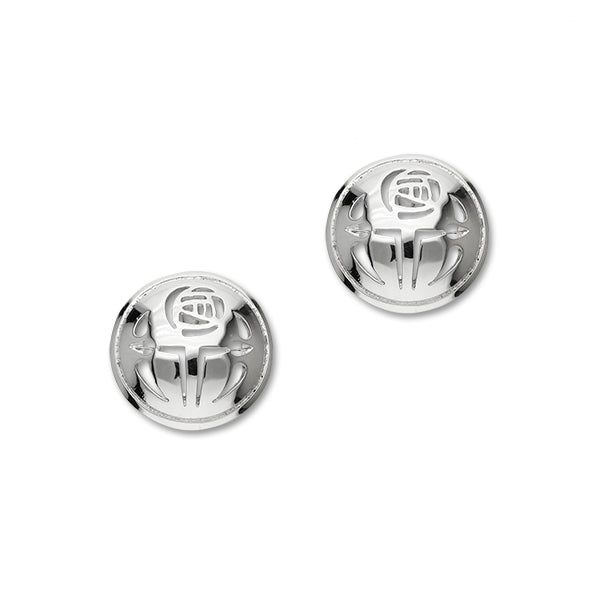 Charles Rennie Mackintosh Rose Sterling Silver Round Stud Earrings, E474