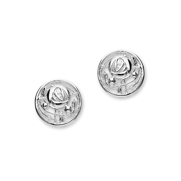 Charles Rennie Mackintosh Rose Sterling Silver Round Stud Earrings, E520