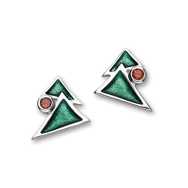 Festive Sterling Silver Cubic Zirconia & Enamel Christmas Tree Stud Earrings, ECE27
