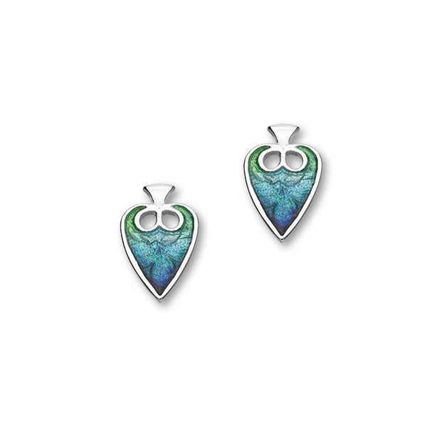 Meadow Sterling Silver & Blue Enamel Leaf Stud Earrings, EE175