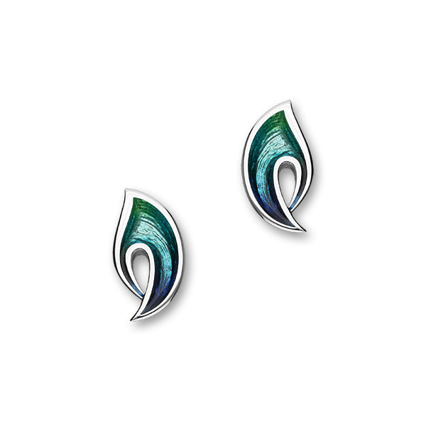 Rhapsody Sterling Silver & Blue/Green Enamel Stud Earrings, EE214