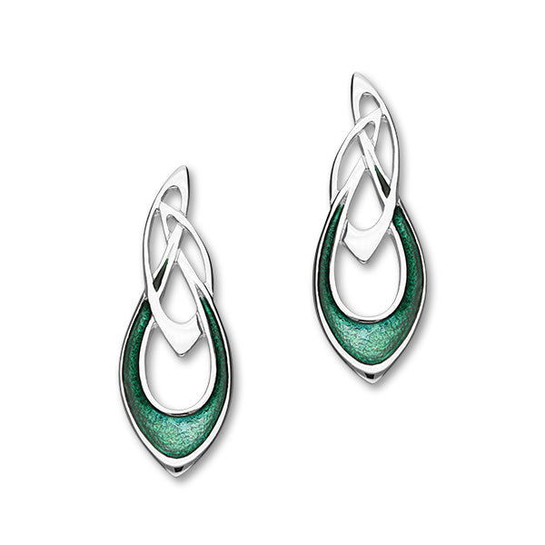 Archibald Knox Sterling Silver & Green Enamel Long Stud Earrings, EE26
