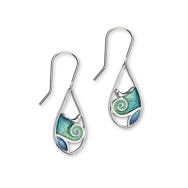 Tranquility Sterling Silver & Blue/Green Enamel Oval Drop Earrings