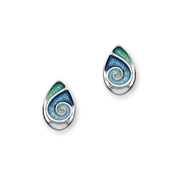 Tranquility Sterling Silver & Blue/Green Enamel Oval Stud Earrings, EE288