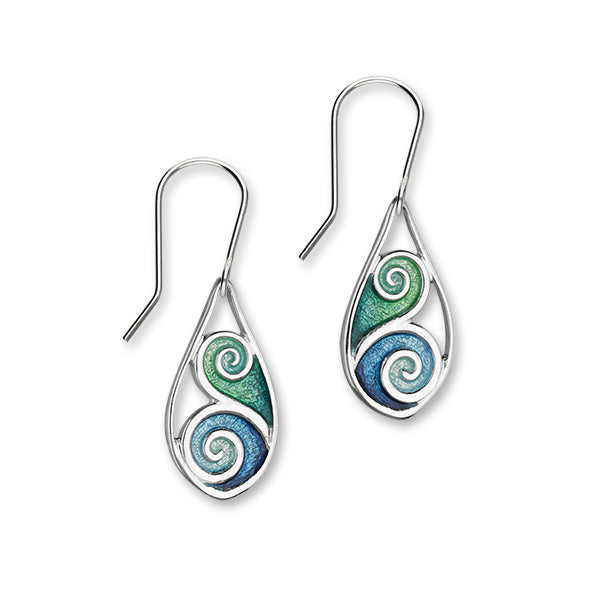 Tranquility Sterling Silver & Blue/Green Enamel Swirl Oval Drop Earrings, EE289