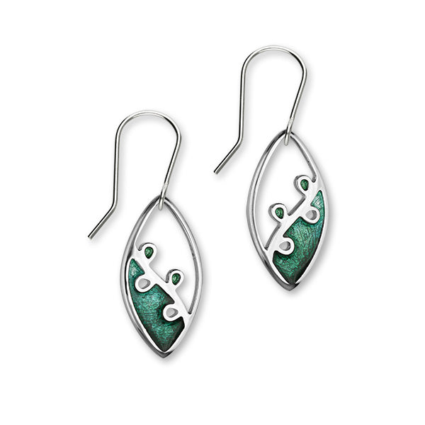 Tranquility Sterling Silver & Green Enamel Oval Drop Earrings