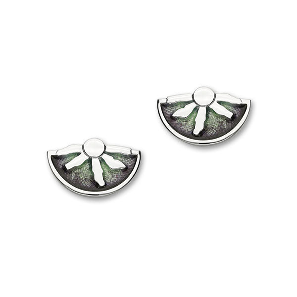 Ring of Brodgar Sterling Silver & Green Enamel Stud Earrings, EE559