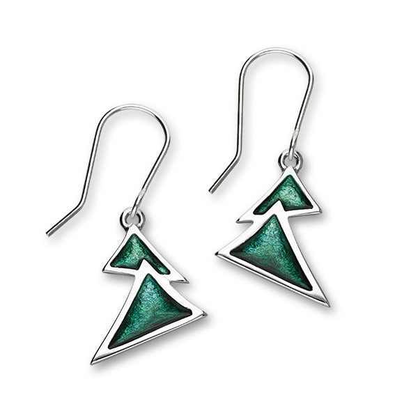 Festive Sterling Silver Enamel Christmas Tree Drop Earrings, EE609