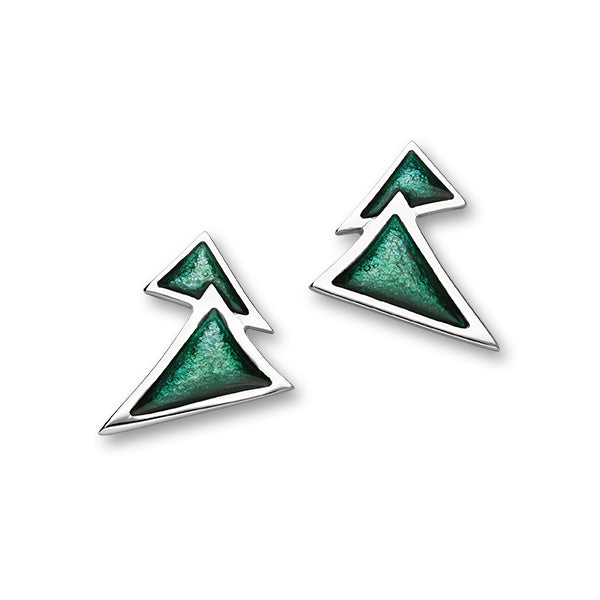 Festive Sterling Silver Enamel Christmas Tree Stud Earrings, EE610