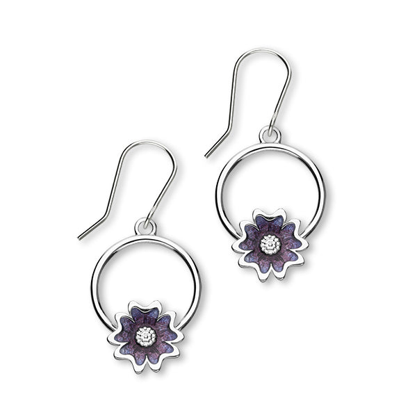 Scottish Primrose Sterling Silver & Purple Enamel Hoop Drop Earrings, EE622