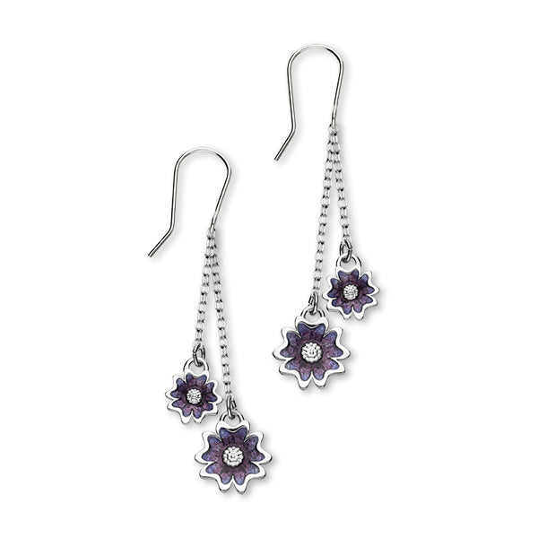 Scottish Primrose Sterling Silver & Purple Enamel 2 Drop Earrings, EE624