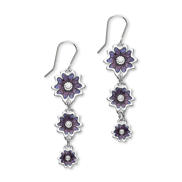 Scottish Primrose Sterling Silver & Purple Enamel Tri Drop Earrings, EE625