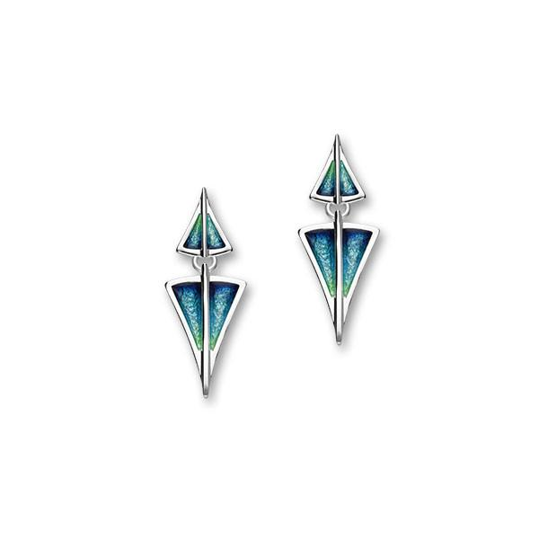 Aegean Sterling Silver & Aquamarine Enamel Short Drop Earrings, EE481