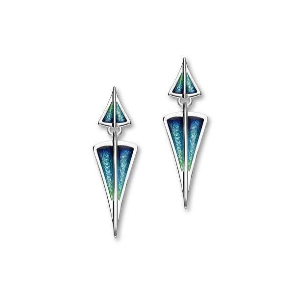 Aegean Sterling Silver & Aquamarine Enamel Long Drop Earrings, EE482