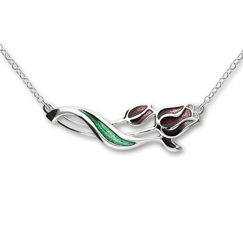 Tulips Supporting MS - Silver Necklet EN16