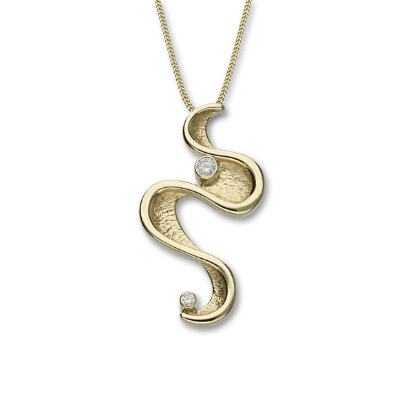 Mirran Ripples Gold Pendant GDP93 Diamond
