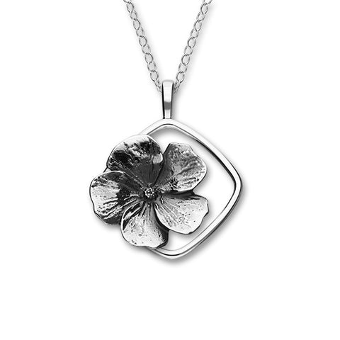 February Birth Flower Silver Pendant P1156