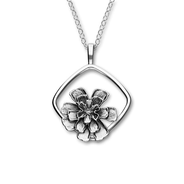 October Birth Flower Silver Pendant P1164