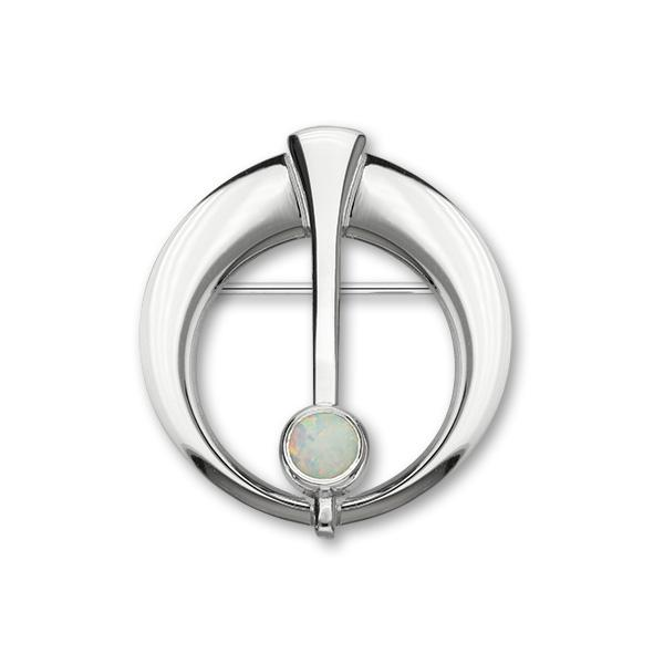 Harlequin Silver Brooch SB146 White Opal