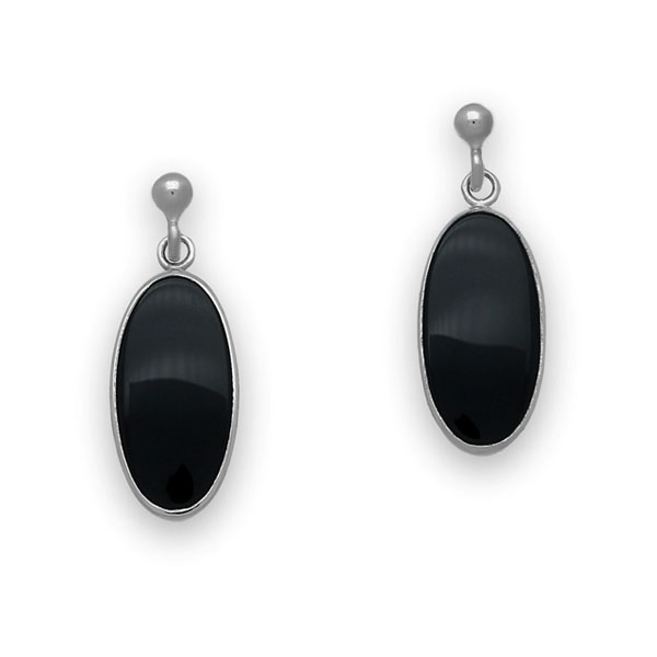 Retro Silver Earrings SE19 Onyx
