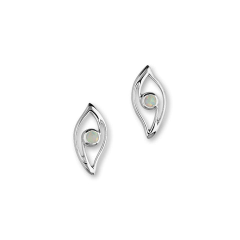 Harlequin Silver Earrings SE358 White Opal