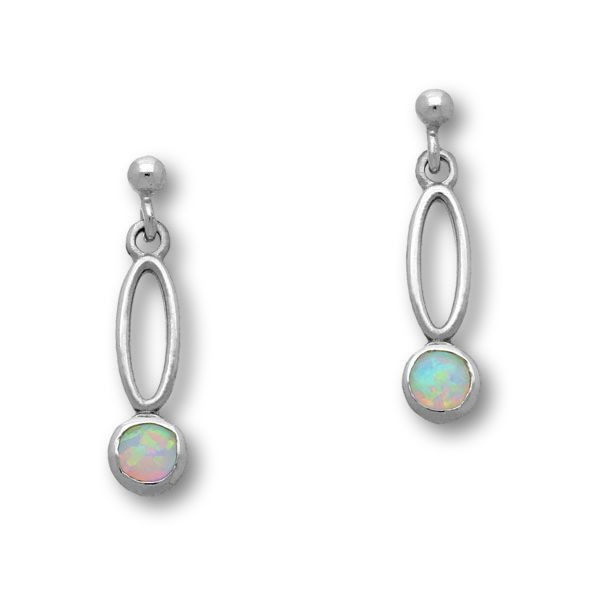 Harlequin Silver Earrings SE361 White Opal