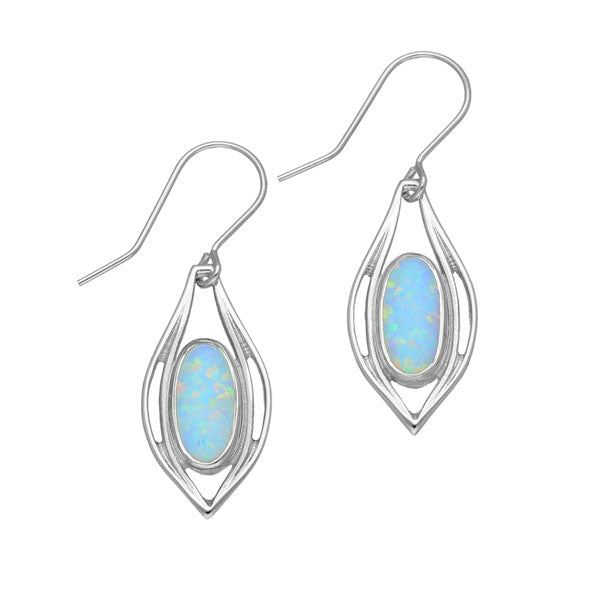 Sahara Sunset Silver Earrings SE390 White Opal
